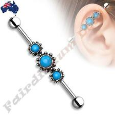 316L SSteel Industrial Barbell with Burnish Silver Triple Round Turquoise Centre