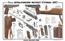 Color POSTER of Soviet Russian 9mm APS Stechkin Machine Pistol Gletcher BUY NOW!
