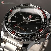 SHARK Men's Luxury Sports Stainless Steel Digital LED Date Quartz Wrist Watch