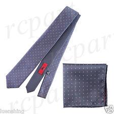 New Men's Brand Q Microfiber Reversible Necktie & Hankie Set Dots Gray Pink