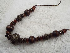 Amber Acrylic Brass Wood Bead Necklace (C65)
