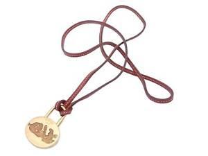 Auth HERMES 2003 Anne Mediterranee Cadena Pendant Necklace Brown/Gold - e48483a