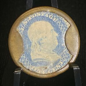 Cage Brothers & Drake Chicago 1c Encased Postage Stamp One Cent 1861 EP15