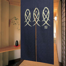 Noren Aisle Agemaku Blue Three Fish Doorway Hanging Pub Izakaya Door Curtain NEW