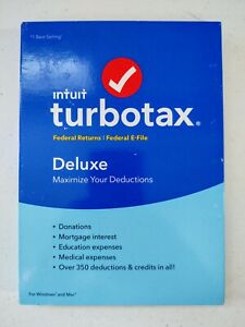 Intuit TurboTax 2016 Deluxe Federal Returns & E-File Turbo Tax PC Mac - Disc NEW