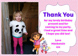 Personalised Photo Dora the Explorer Birthday Party Thank You Cards inc Envelope