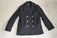 Balmain x H&M Black Double Breasted Wool Trench Coat Jacket Womens US10 UK12
