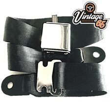 Classic Car Black 2 Point Chrome Buckle Lap Seat Belt Adjustable Front Rear