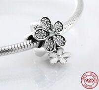 Charms Anhänger Echt Silber 925 Emaille Zirkon Blume Charms für Pandora Armband.