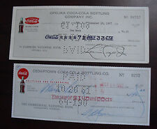 Lot of 2 Vintage 1960s Coca Cola Bottling Company Checks Cancelled
