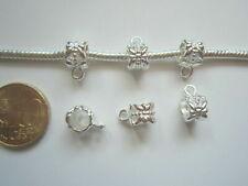 Colgador colgante flor pulsera europea 8 mm X 6 UNIDADES baño de plata abalorios