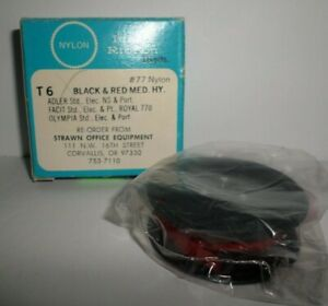 ADLER FACIT OLYMPIA Red Black Typewriter Ribbon T6 #77 Nylon NEW Metal