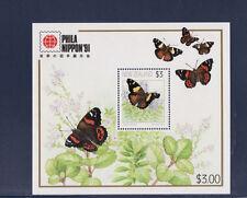 Nouvelle Zélande    bloc  papillons   1991