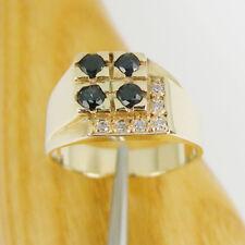 Natural Sapphire & CZ Gemstone Men Signet Ring Genuine 375 9ct Yellow Gold, R570
