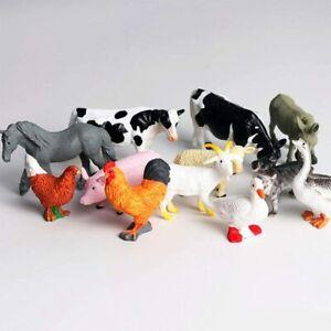 12Pcs Small Farm Animals Figures Bundle Realistic Cows Kids Toys Model Playset
