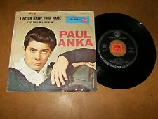 PAUL ANKA - I NEVER KNEW YOUR NAME - A STEEL   - 45 PS / LISTEN - TEEN POPCORN