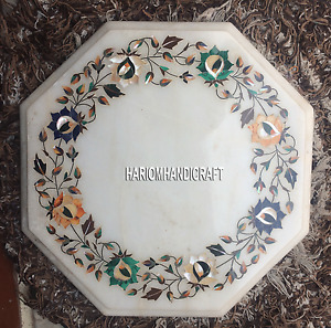 12'' Designer Marble Multi Floral Inlay Mosaic Handicraft Patio Home Decor H5375