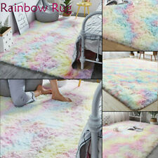 Fluffy Rainbow Rugs Non Slip Large Floor Carpet Rugs Mat Plush Rectangle Bedroom