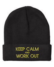 KEEP CALM AND WORK OUT Embroidery Embroidered Beanie Skully Hat Cap