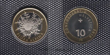 SWITZERLAND BIMETALLIC 10 FRANCS COIN 2018 CARLINE THISTLE FLORA ALPINA UNC