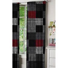 Window Curtain Panels Set Of 2 52'x 84' Red Black Grey White Geo Blocks Bedroom