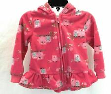 WeePlay Infant Girls Long Sleeve Hooded Front Zip Fleece Jacket Multi Color 18M
