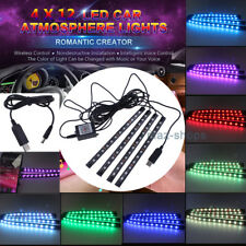 4X RGB 12 LED Car Interior USB Neon Atmosphere Strip Light Kit Music APP Control
