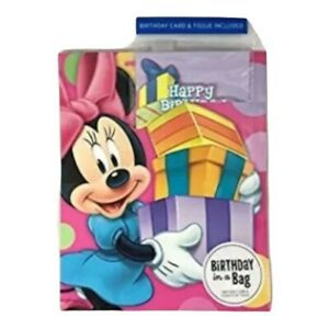 Minnie Mouse Happy Birthday Gift Bag Set Birthday Card 3 Sheets of Tissue