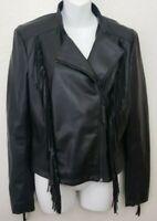 *NEW* Express Black Faux Leather Fringed Jacket Moto Women's Size Medium