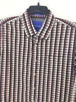 Tommy Bahama Mens X-Large Button Up Long Sleeve Cotton Purple Plaid Sport Shirt