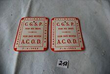 C218 2 autocollants - CGSP - 1953