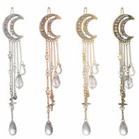 Women Chic Moon Crystal Rhinestone Beads Dangle Hairpin Hair Clip Bridal Jewelry