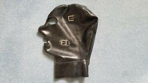 Heavy Black Latex Rubber Mask Fetish Club Goth BDSM Size Large