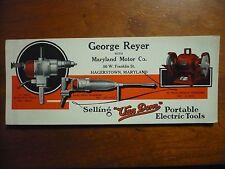 1930's? VAN DORN ELECTRIC TOOLLS DRILL HAMMER Blotter Antique Vintage  print ad