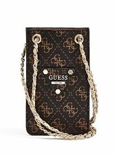 NWT Woman Handbag GUESS CHIT CHAT QUILTED SMARTPHONE CROSS-BODY - brown