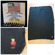 VTG Polo Ralph Lauren Throw Blanket Fleece Embroidered Bear 50x68 GREEN USA MADE