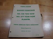 Massey Ferguson No 338 377 Planter 2 4 Row Parts Catalog Manual Book 1956