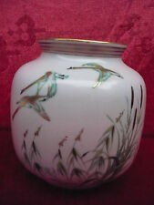 Beautiful, Old Ornamental Vase Hand Painting__Flying Swans __