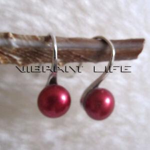 6.5-7.0mm Dark Red Freshwater Pearl Dangle Earrings D16H  U