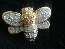 Vintage Swarovski Crystal Gold Plated BEE BUMBLEBEE Brooch Pin SIGNED Swan Logo