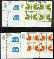 Un Scott #Ny 320-21/Geneva 92/Vienna 11, Imprint Blocks 1980 Complete Fvf Mnh Ll