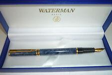 WATERMAN LAUREAT MARBLE  BLUE FOUNTAIN PEN FINE PT IN BOX @@@