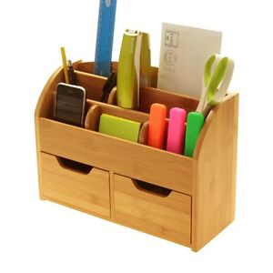 Bamboo Desk Stationery Organiser Storage Box (or Wall Mounted) Desk Tidy