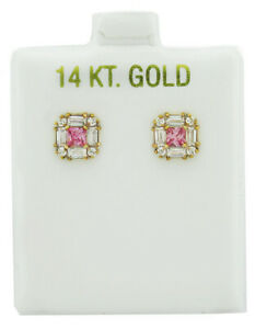 WHITE & PINK SAPPHIRE EARRINGS 14k YELLOW GOLD  * BRAND NEW WITH TAG *
