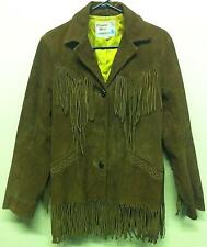 VTG '60s Brown Western Fringe LEATHER Motorcycle Biker Leather Jacket Coat Sz 10