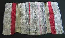 """Woven Fabric Rug Red Tan Blue Multicolor 24x38"""" vintage Country Free Sh"""