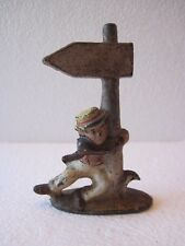 Vintage Wilton Prod Cast Iron Figural Drunk Man Hold Street Sign Bottle Opener