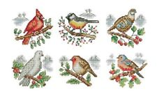 6 Little birds, Greeting cards Egyptian cotton cross stitch kits