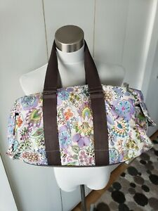 mint LESPORTSAC white FLORAL tote bag duffle grey handles side flap pockets