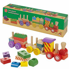 17 Piece Kids Wooden Train Play Set Children Role Play Toy Colourful Accessories